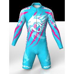 licra de patinaje natacion gimnasio pesas running para niñas niños hombres mujeres dragon force blue-fuchia
