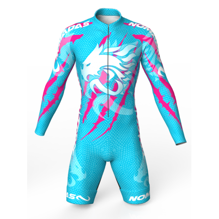 Dragon force blue fuchsia skating suit, beautiful aggressive and stylish design for boys, girls, men and women