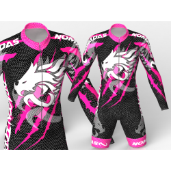 Dragon force fuchsia-black skating suit, beautiful aggressive and stylish design for boys, girls, men and women