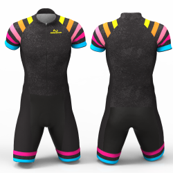 Black Rainbow Cycling Suit for women men girls boys High quality lycra Back pockets