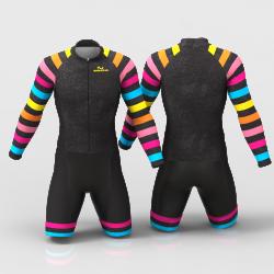 Black Rainbow Cycling Suit for women men girls boys High quality lycra Back pockets
