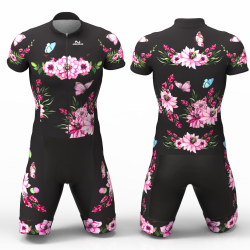 Pink peonies flowers Cycling Suit High quality lycra for women men boys girls
