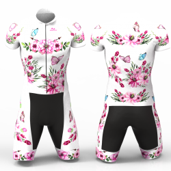 Pink peonies white Cycling Suit for men women girls boys