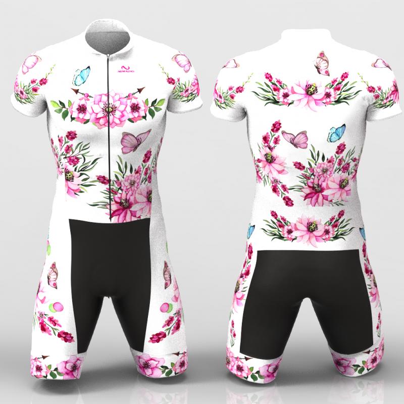 Pink peonies whiteEnterizo rosado para ciclismo para niñas niños hombres mujeres