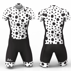Black Dots Cycling Suit High quality lycra women men girls boys