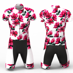 Red Blossom white Cycling Suit for women girl men boys