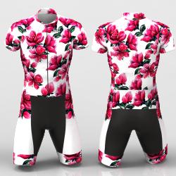 Red Blossom white Enterizo para ciclismo para niñas niños hombres mujeres