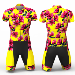 Red Blossom yellow Cycling Suit for women girl men boys