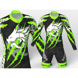 Dragon Force Neon  Green-Black skating suit