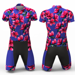 Red Blossom blue Cycling Suit for women men boys girls