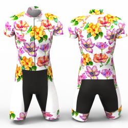 Hibiscus flower white Cycling Suit for women men boys girls