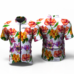 HIBISCUS FLOWER white Cycling Jersey for women men girls boys