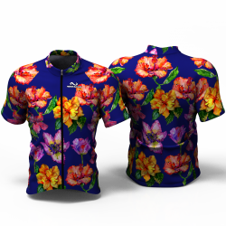 HIBISCUS FLOWER blue Cycling Jersey for women men girls boys