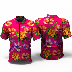 HIBISCUS FLOWER fuchsia Cycling Jersey for women men boys girls