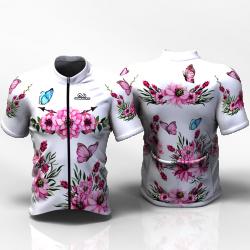 PINK PEONIES FLOWERS white Camiseta jersey de ciclismo para mujer y hombre nomadas