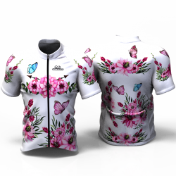 PINK PEONIES FLOWERS white Cycling Jersey for women men girls boys