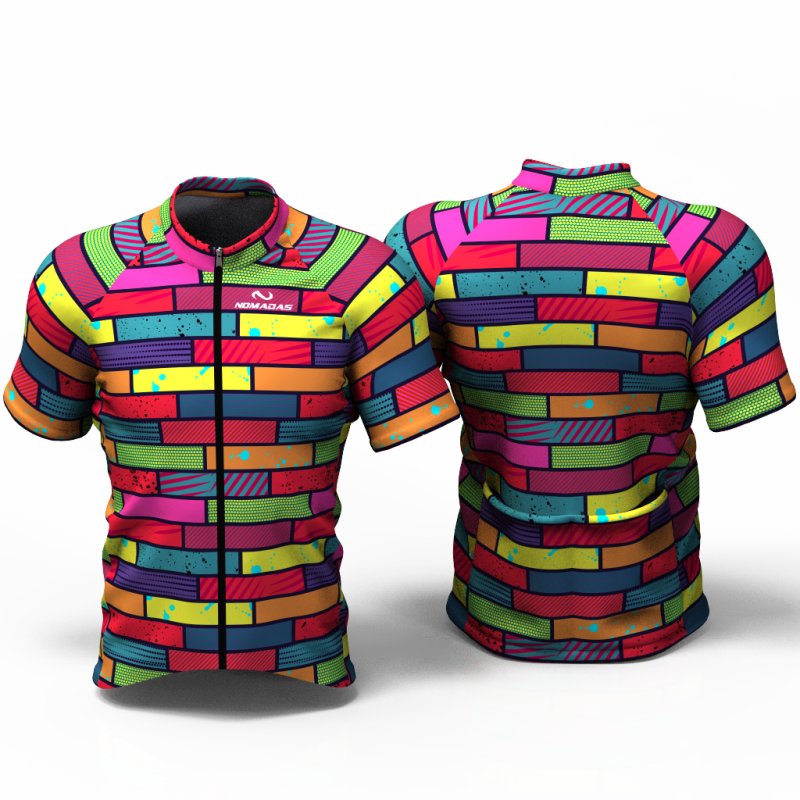 Colorful bricks  ENTERIZO Camiseta jersey de ciclismo para mujer y hombre nomadas