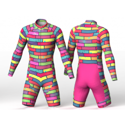 Colorful bricks green skating suit for boys, girls, men, women