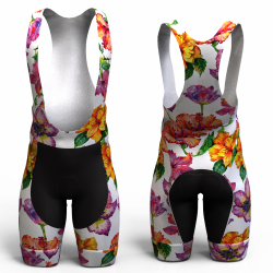 HIBISCUS FLOWER WHITE CYCLING SHORTS for women and men