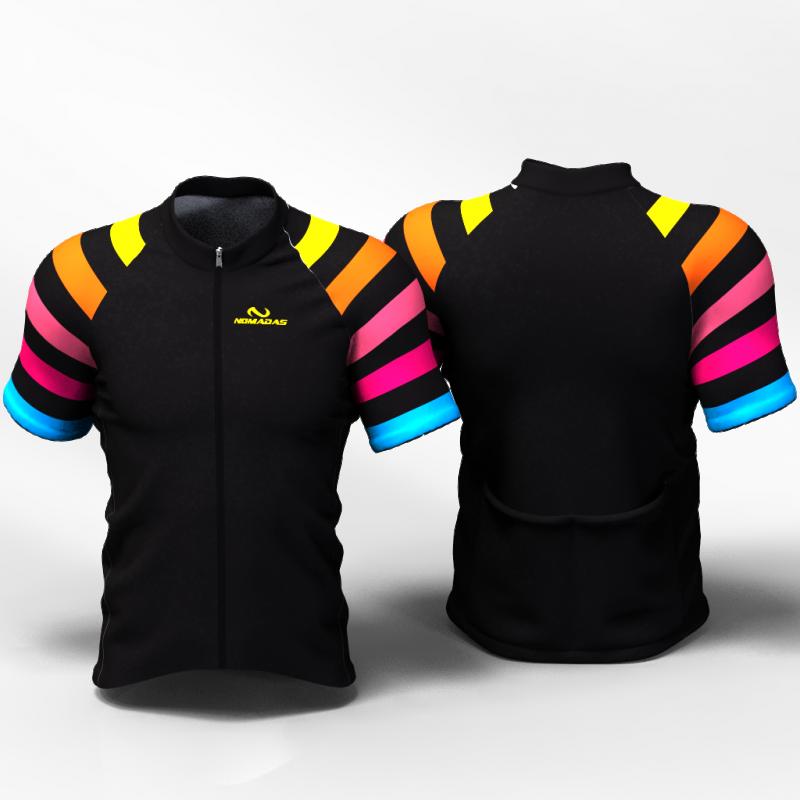 BLACK RAINBOW  Camiseta jersey de ciclismo para mujer y hombre nomadas