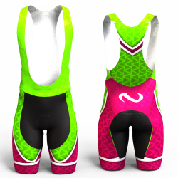 ABSTRACT TRIANGLES NEON GREEN-FUCHSIA Cycling Shorts FOR MEN AND WOMEN
