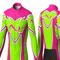 ABSTRACT TRIANGLES NEON GREEN-FUCHSIA skating suit for girl women man boys