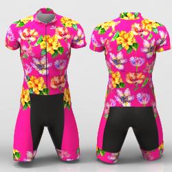 Hibiscus flower fuchsia Cycling Suit for women men boys girls