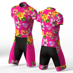Hibiscus fuchsia skating suit for men and women