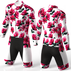 Red Blossom white skating suit, beautiful stylish design for boys, girls, men and women