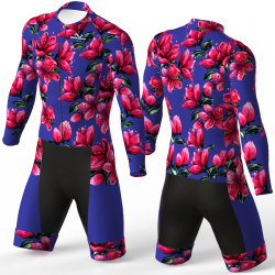 Red Blossom blue skating suit, beautiful stylish design for boys, girls, men and women
