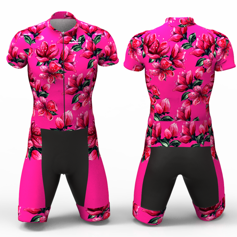 Red Blossom fuchsia skating suit, beautiful stylish design for boys, girls, men and women