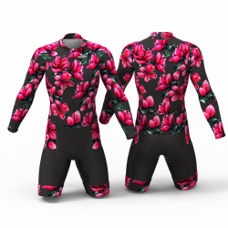 Red Blossom black skating suit, beautiful stylish design for boys, girls, men and women