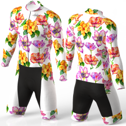 HIBISCUS FLOWER WHITE skating suit, beautiful stylish design for boys, girls, men and women