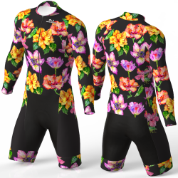 HIBISCUS FLOWER BLACK skating suit, beautiful stylish design for boys, girls, men and women