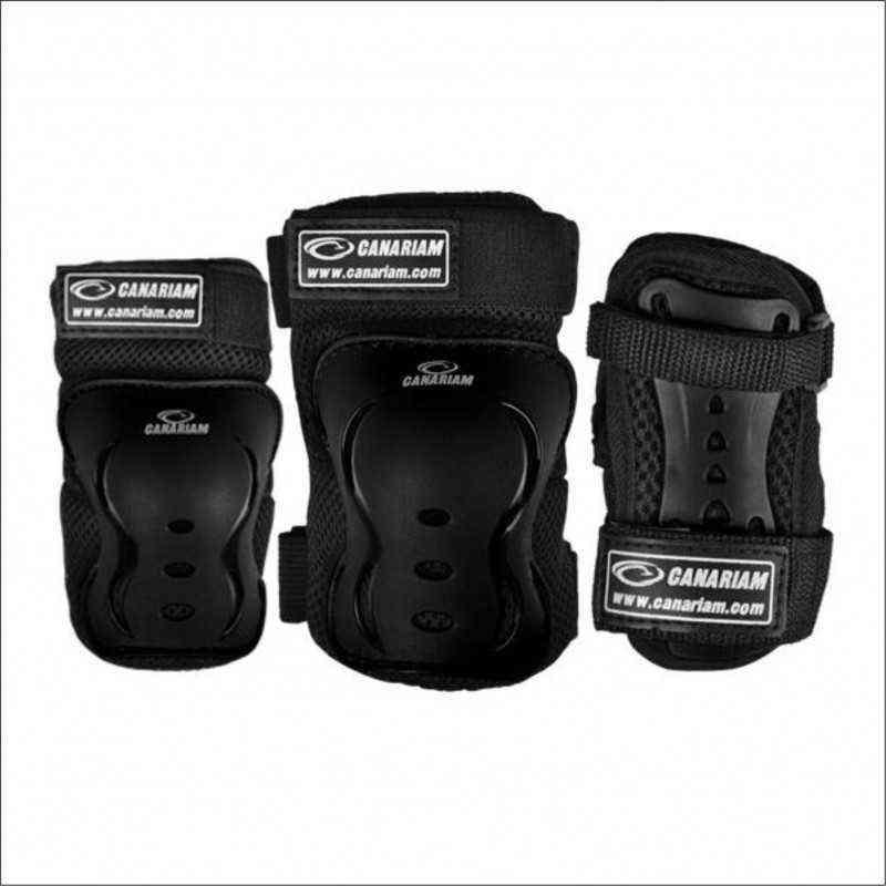 kit de proteccion Canariam Negro (rodillera,codera,guantes) baratos economicos para niños niñas adultos