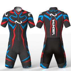 Thunder blue-red skating suit for girls, boys, men and women
