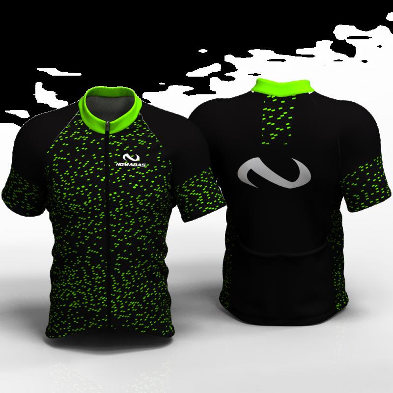Fiber carbon verde Camiseta de ciclismo nomadas para mujer y hombre