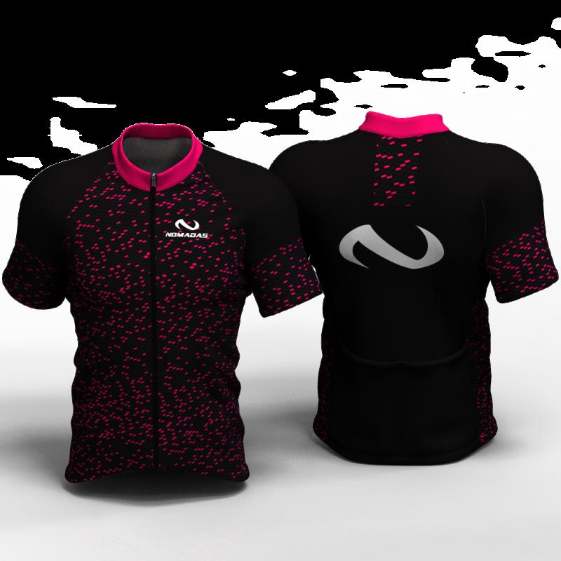 fiber carbon fucsia Camiseta de ciclismo nomadas para mujeres