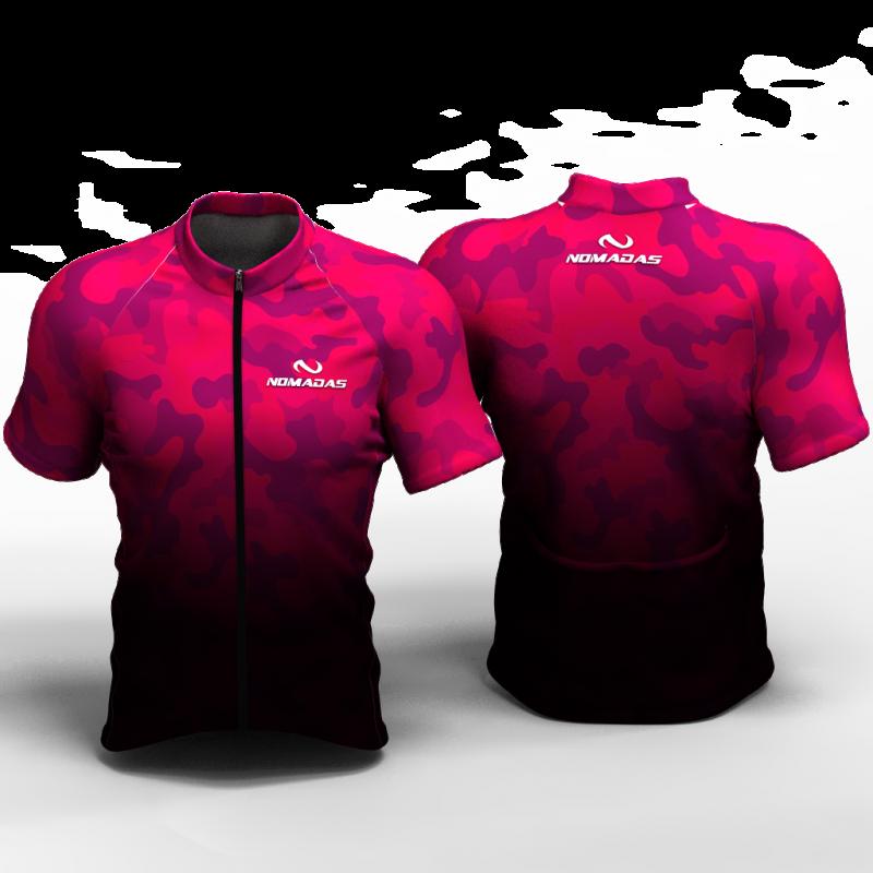 Camuflado fucsia Camiseta de ciclismo nomadas para mujeres y hombres