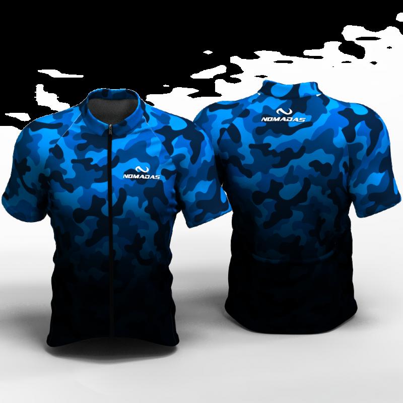 Camuflado azul Camiseta de ciclismo nomadas para mujeres y hombres
