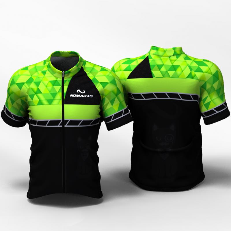 Green triangles Camiseta de ciclismo nomadas para mujeres y hombre