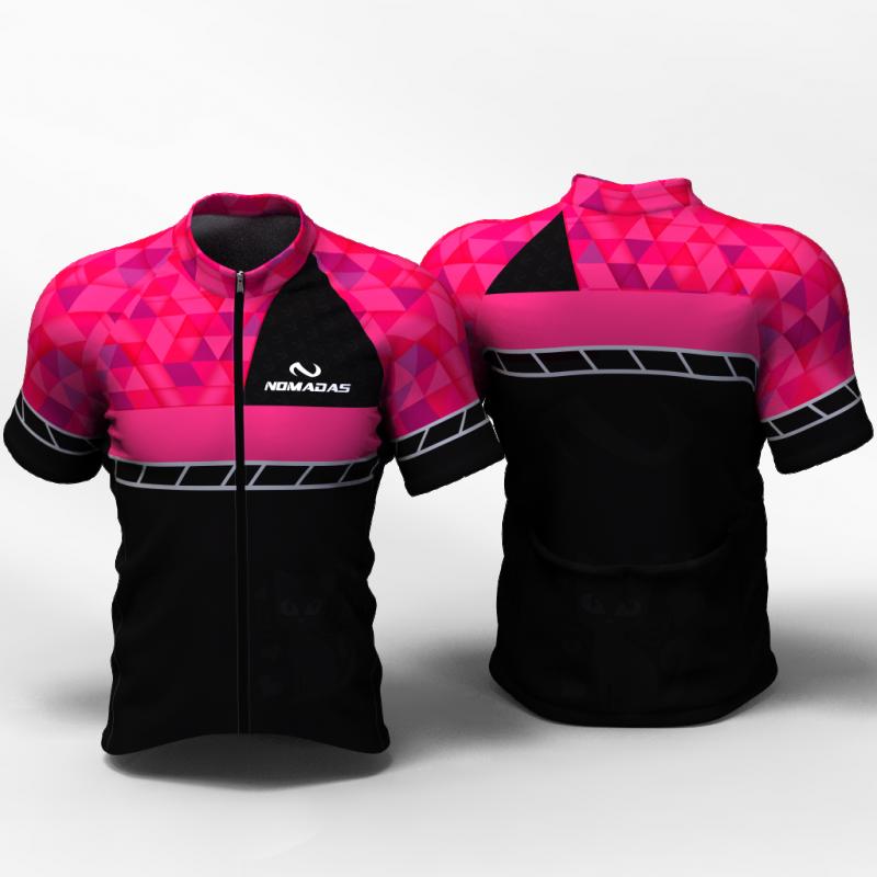 Fucsia triangles Camiseta de ciclismo nomadas para mujeres y hombres