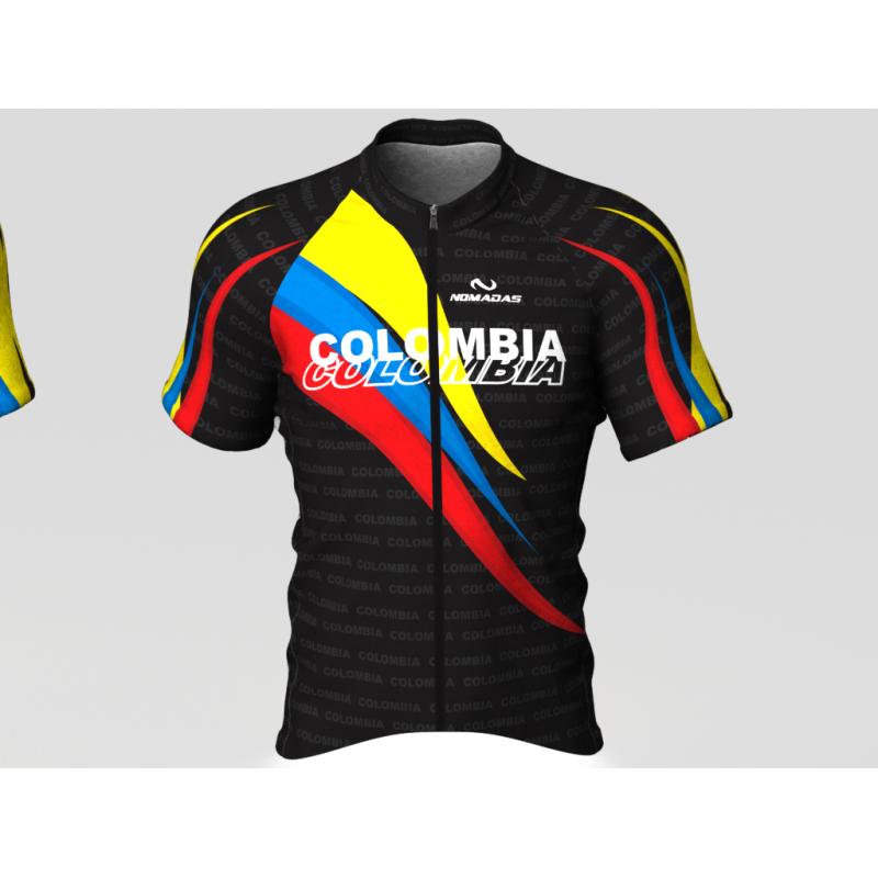 Colombia olimpicos negroCamiseta de ciclismo para mujer y hombre nomadas