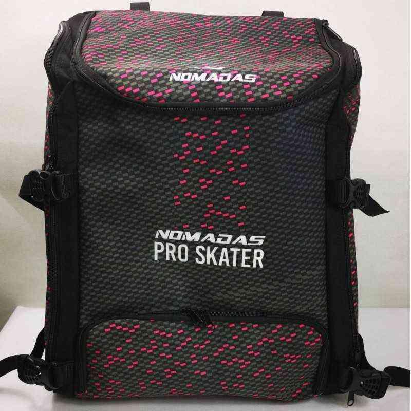 Pro-skater thermoformed backpack Fiber carbon Fuchsia speed skating for girls, women, men, kids