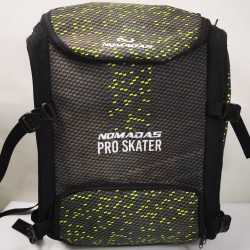 Pro-skater thermoformed backpack Camouflaged Fiber carbon Green speed skating