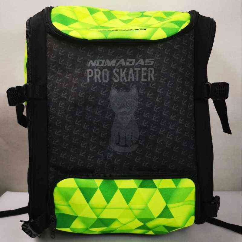 Green Triangles pro-skater thermoformed backpack speed skating