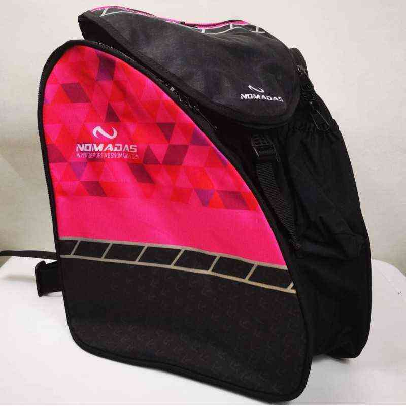 fuchsia Triangles thermoformed backpack speed skating